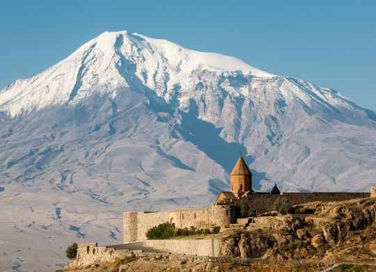 Ancient Armenian church Khor Virap with Ararat on the background. The monastery was host to a theological seminary and was the residence of Armenian Catholicos.